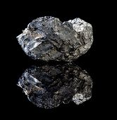 Rough specimen of black coal, a combustible sedimentary rock