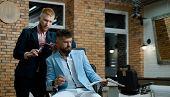 Barber - Shaves And Trims. Great Time At Barbershop. Barber Shop Studios. Barber Scissors And Straig poster
