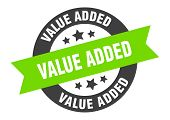 Value Added Sign. Value Added Black-green Round Ribbon Sticker poster