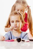 Funny Image Of Hairdressing Services. Cute Little Hairdresser Makes Hairstyle For Young Girl In Beau poster