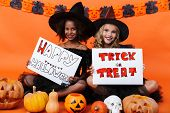 Image of smiling multinational girls in black halloween costumes holding placards while sitting on f poster