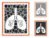 Lungs X-ray Photo Mosaic Of Inequal Elements In Different Sizes And Color Hues, Based On Lungs X-ray poster