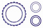 Double Rosette Circular Frame Composition Of Joggly Elements In Different Sizes And Color Hues, Base poster