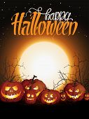 Halloween Background With Pumpkins And Moon. Happy Halloween Lettering. Pumpkin Jack Skeleton Face.  poster