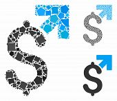 Dollar Growth Mosaic Of Humpy Items In Various Sizes And Color Hues, Based On Dollar Growth Icon. Ve poster