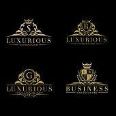 Set Of Vector Elements In Style Of Luxury Flourish. Luxury Logo Template In Vector For Restaurant, R poster