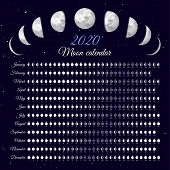 Lunar Cycles At 2020 Year. Moon Phases Calendar Vector Illustration. Dates For Full, New Moon And Ev poster