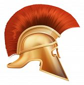 image of hoplite  - Illustration of side on Spartan helmet or Trojan helmet also called a Corinthian helmet - JPG
