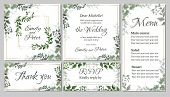 Flora Greeting Card For A Wedding Invitation, Thank You, Rsvp, Menu. Green Elegant Leaves. Green Pla poster