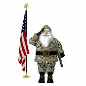 stock photo of desert christmas  - Military Santa
