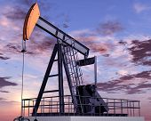 stock photo of oil rig  - Illustration of an oil rig at dusk - JPG