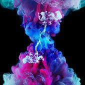 Explosion Of Color, Concept. Splashes Of Colored Ink In Water, Bright Colors. Creative And Color Mix poster