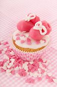 image of mary jane  - Pink cupcake with baby shoes and hearts - JPG