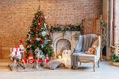 Classic Christmas New Year Decorated Interior Room New Year Tree And Fireplace. Christmas Tree With  poster