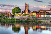 stock photo of irish flag  - Shannon river scenery in Limerick city - JPG