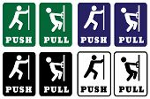 Push Pull Door Sign Collection.push Pull Door Signs Using Green,blue,black And White Colors For Back poster