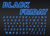 Neon Black Friday Sign. Neon Font City. Neon Blue Font English. City Blue Font. Alphabet Font. Vecto poster