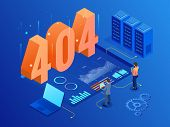 Isometric Error 404 Page Layout Vector Design. The Page You Requested Could Not Be Found. Website 40 poster
