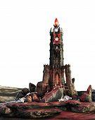 Fantasy Magic Dark Evil Tower, 3d Illustration, 3d Rendering poster