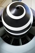 Black and white spiral on a WW II fighter engine nose cone