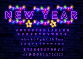 Purple Neon Alphabet Font. Light Effect Letters, Numbers And Symbols On The Dark Background. City Pu poster