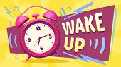 Wake Up Poster. Good Morning, Alarm Clock Ringing And Mornings Wakes. Waking Up Time Motivation Card poster