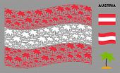 Waving Austrian Official Flag. Vector Island Tropic Palm Elements Are Combined Into Mosaic Austria F poster