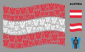 Waving Austria Official Flag. Vector Angel Investor Design Elements Are Placed Into Geometric Austri poster