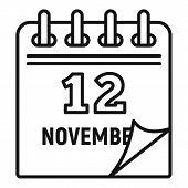 12 November Calendar Icon. Outline 12 November Calendar Vector Icon For Web Design Isolated On White poster
