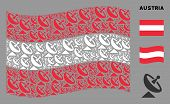 Waving Austrian State Flag. Vector Antenna Elements Are Formed Into Geometric Austrian Flag Illustra poster