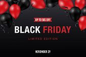 Black Friday Sale Banner With Shiny Red And Black Balloons On Dark Background. Vector Promo Design. poster