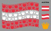 Waving Austrian State Flag. Vector Royal Design Elements Are Scattered Into Geometric Austrian Flag  poster