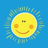 picture of ruddy-faced  - vector abstract smiling sun on blue background - JPG