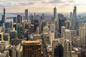 Sunset Aerial view of Chicago Skylines building at Chicago downtown in Chicago City Illinois USA. Lo poster