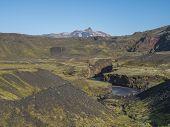 Icelandic Landscape With Blue Markarfljot River Canyon, Green Hills And Tindfjallajokull Glacier Mou poster