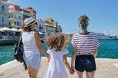 Summer Vacation Together Family Mother And Daughter Children Traveling In Mediterranean. Standing Wi poster