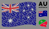 Waving Australia State Flag. Vector Arguments Icons Are Organized Into Mosaic Australia Flag Composi poster