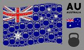 Waving Australia Official Flag. Vector Weight Design Elements Are Organized Into Conceptual Australi poster