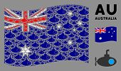 Waving Australia Flag. Vector Submarine Tour Elements Are Organized Into Geometric Australia Flag Co poster