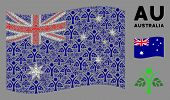 Waving Australia State Flag. Vector Eco Man Icons Are Organized Into Mosaic Australia Flag Illustrat poster