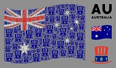 Waving Australia Official Flag. Vector Uncle Sam Hat Design Elements Are Combined Into Mosaic Austra poster