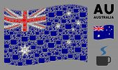 Waving Australia Flag. Vector Hot Coffee Cup Icons Are Organized Into Mosaic Australia Flag Illustra poster