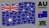 Waving Australia State Flag. Vector Kitty Pictograms Are Formed Into Geometric Australia Flag Illust poster