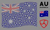 Waving Australia State Flag. Vector Trinity Shield Pictograms Are Combined Into Geometric Australia  poster