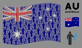Waving Australia Official Flag. Vector Medic Pictograms Are Arranged Into Mosaic Australia Flag Coll poster