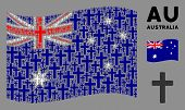 Waving Australia State Flag. Vector Religious Cross Elements Are Placed Into Conceptual Australia Fl poster