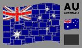 Waving Australia Official Flag. Vector Filled Rectange Icons Are Combined Into Mosaic Australia Flag poster