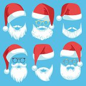 Santa Hats And Beards. Christmas Elements White Mustache, Beard And Glasses, Claus Red Hat, Winter H poster