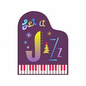 Fancy Winter Holiday Poster. Christmas Jazz Music Fest Colorful Vector Icon. Piano Sign Christmas Fu poster