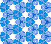 Turquoise Blue Vintage Kaleidoscope Seamless Pattern. Hand Drawn Watercolor Ornament. Symmetrical Re poster